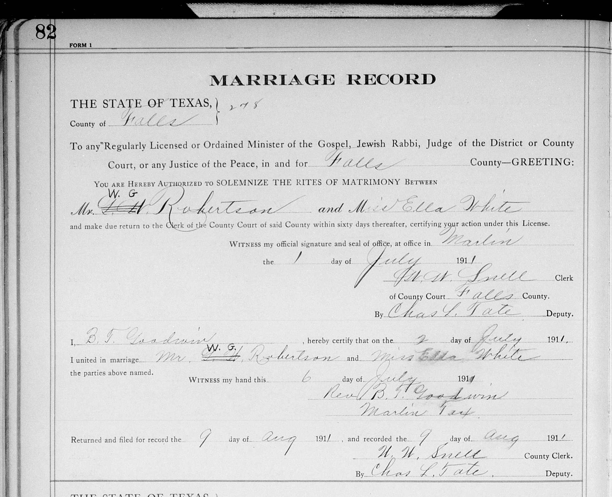 Ellen bethine stewart marriages and children marriage license for ella white and w g robertson 1betcityfo Image collections