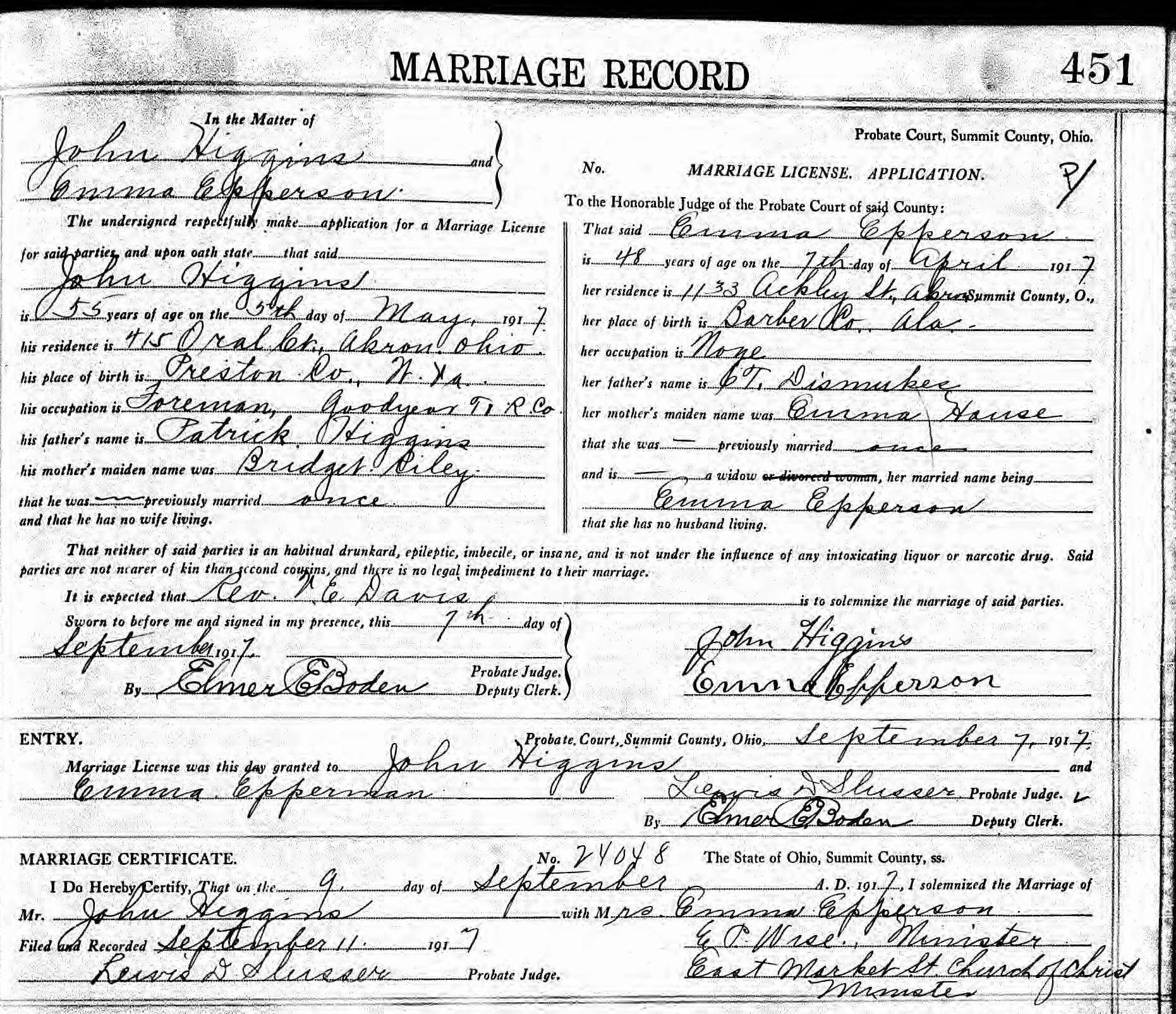 Jessie Thompson Epperson 1853 1911 Marriages Children