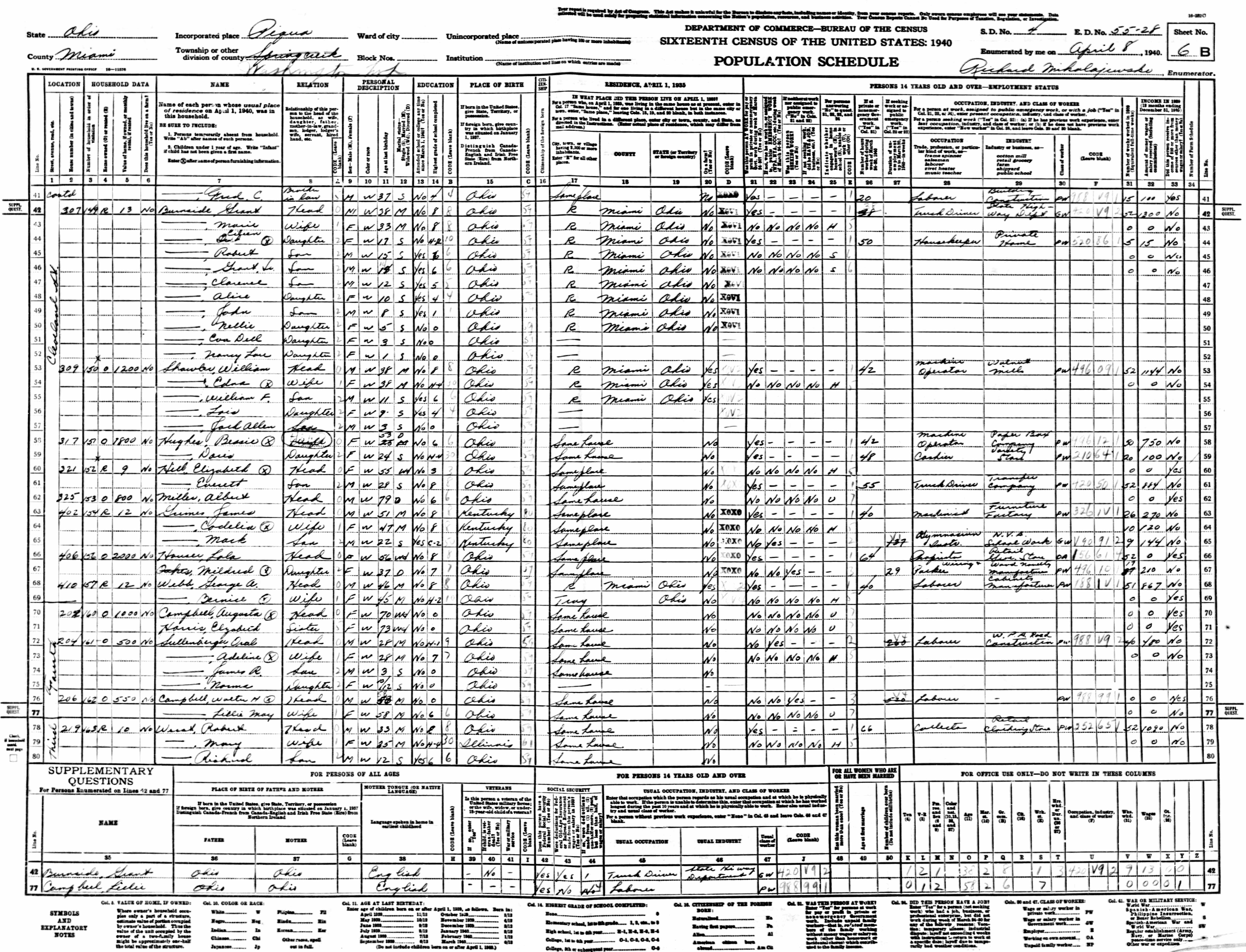 Henry Sowers   Marriages  Children - Us census bureau ohio counties